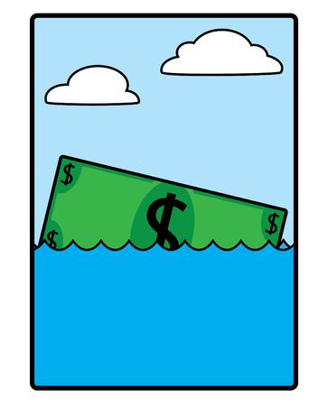 A dollar bill floating in the ocean, slowly sinking Vector