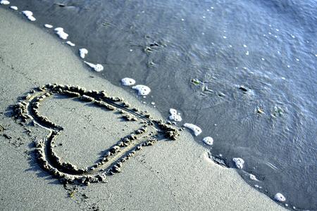 心愛の概念、海とビーチで 写真素材