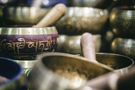 Tibetan bells, meditation sound Stock Photo