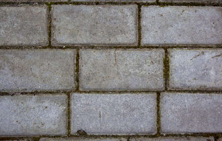 Simple rectangular paving slabs. Gray paving tiles details close-up. The texture of paving tiles, the pattern on the tile. Concrete paving slab flagstone. Sidewalk pavement pattern. Cement brick 免版税图像
