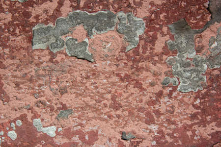 Dark Plaster Wall With Dirty Red Brown Scratched Horizontal Background. Concrete Wall With Peel Rusty Stucco Texture. Retro Vintage Worn Wall Wallpaper. Decay Crack Rough Abstract Banner Surface. Standard-Bild