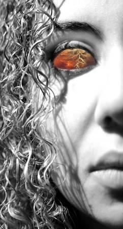 神話 bandora を呈した雷目女性の肖像画。 写真素材