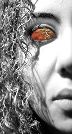 Womans portrait presenting the myth bandora with thunder eyes.