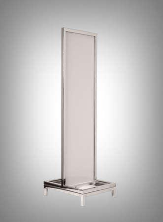 polished: Store fixture made of polished aluminum metal. Stock Photo