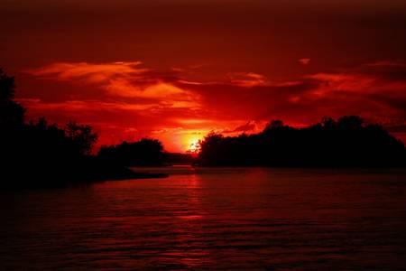 crepuscle: Sunset at Sainte-Anne de Bellevue Quebec, Canada. Stock Photo