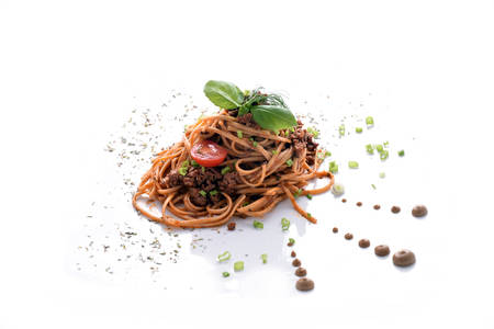 Pasta bolognese with ground meat