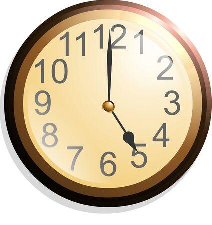 Reloj de pared aislado sobre fondo blanco. Ilustración de vector