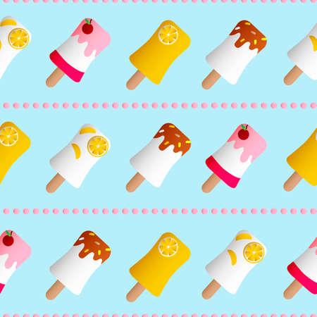 Drawing of seamless pattern with fruit ice cream in a glaze