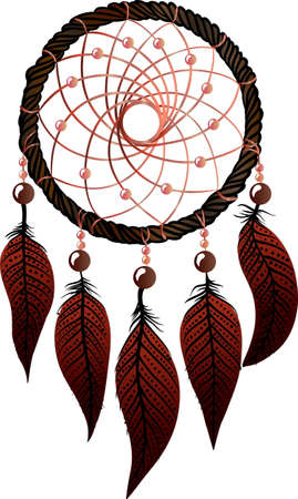 osier: Hand-drawn native american dream catcher with osier, brown feathers and pink beads on a white background. Ethnic illustration, tribal Illustration