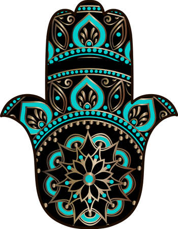 drawing of a Hand of Fatima (Hamsa) in black, gold and turquoise colors on a white background