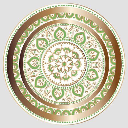 Drawing of a floral mandala in white, gold and green colors on a light grey background