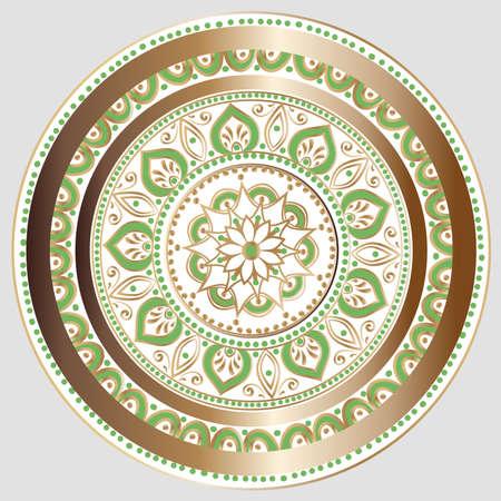 밝은 회색 배경에 흰색, 금색 및 녹색 색상의 꽃 만다라 그리기