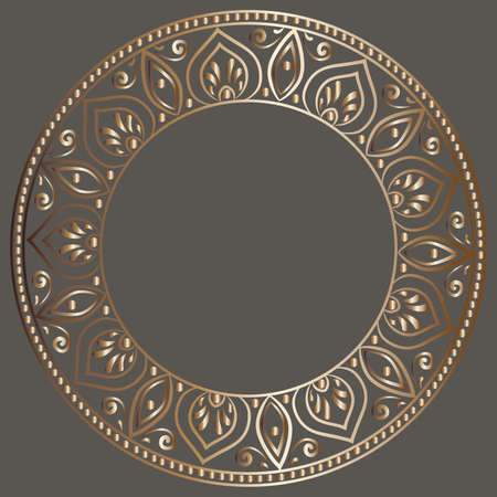 metal frame: drawing of a round gold gradient frame with floral ornament on a dark gray background