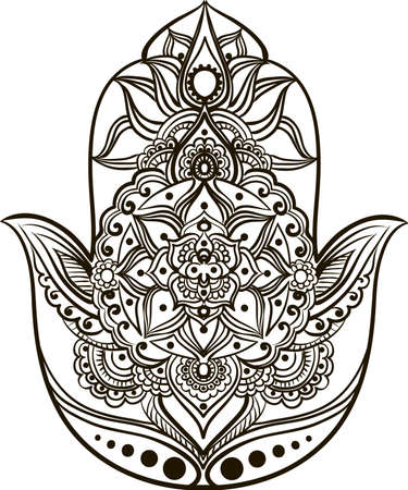 drawing of a line art Hand of Fatima (Hamsa) in black colors on a white background