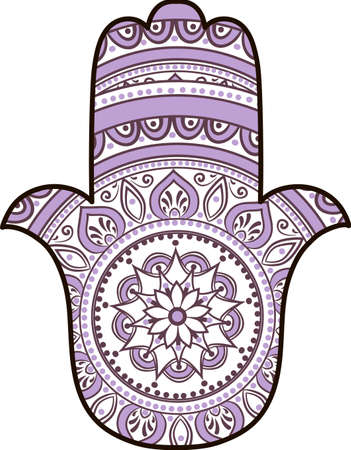 judaica: drawing of a Hand of Fatima (Hamsa) in white, violet and black colors on a white background