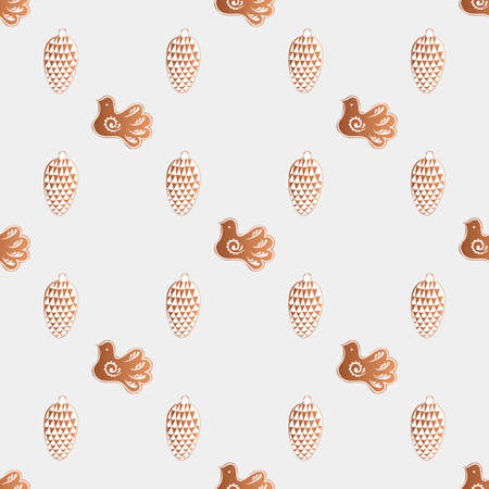 pinecone: Drawing of a seamless pattern with gingerbread cookies with white icing with a Christmas, New Year, theme on a gray background Illustration