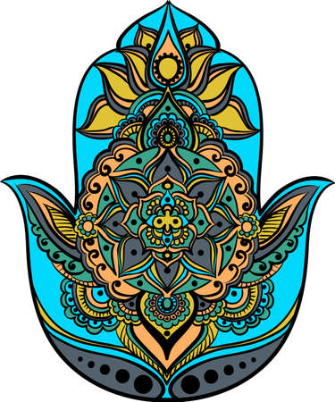 an amulet: drawing of a Hand of Fatima (Hamsa) in orange, green and turquoise colors on a white background Illustration