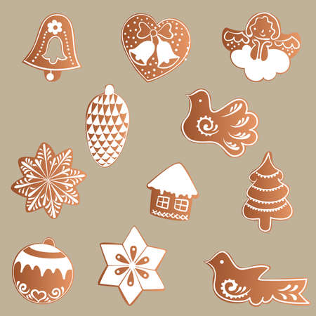 pine cone: Drawing of a Set of gingerbread with white icing with a Christmas, New Year, theme on a brown background - bell, heart, angel, pine cone, birds, stars, house, tree, ball Illustration