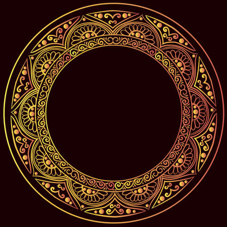 drawing of a round gold gradient frame with floral ornament on a black background