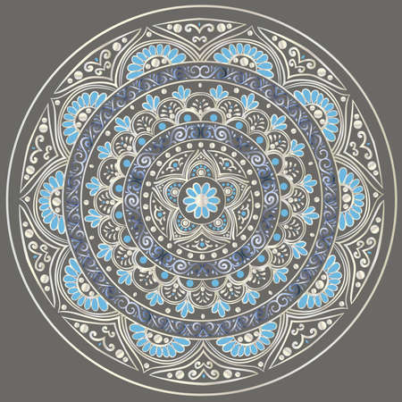 Drawing of a floral mandala in silver and blue colors on a dark gray background Vectores
