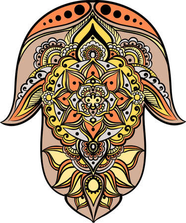 fatima: drawing of a Hand of Fatima (Hamsa) in orange, yellow, beige and gray colors on a white background