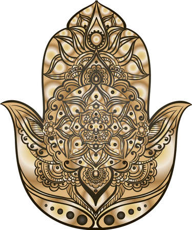 fatima: drawing of a Hand of Fatima (Hamsa) in black and gold colors on a white background Illustration