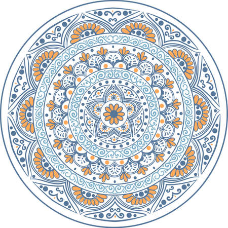 Drawing of a floral mandala in blue and orange colors on a white background Illustration