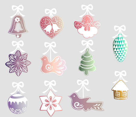 pine cone: set of colorful decorations with white ribbons for the Christmas tree - a bell, heart, angel, star, bird, tree, pine cone, ball, house