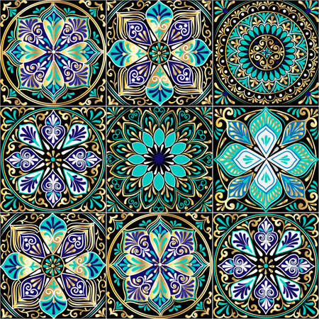 Colorful floral seamless pattern from squares with mandala in patchwork boho chic style, in portuguese and moroccan motif Illustration