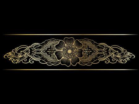 lineart: Gold indian line art border
