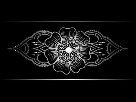 lineart: Silver indian line art border in mehendi ethnic style on a black background Illustration