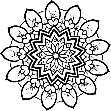 lineart: Abstract floral mandala on a white backdrop. Illustration