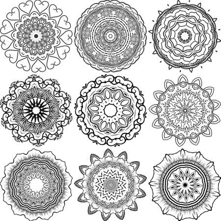 lineart: Set of abstract design with floral round lace mandala, decorative element in ethnic tribal style, black line art