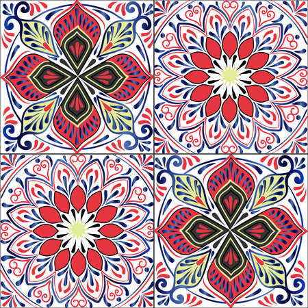 patchwork: Colorful floral seamless pattern from squares with mandala in patchwork boho chic style, in portuguese and moroccan motif Illustration