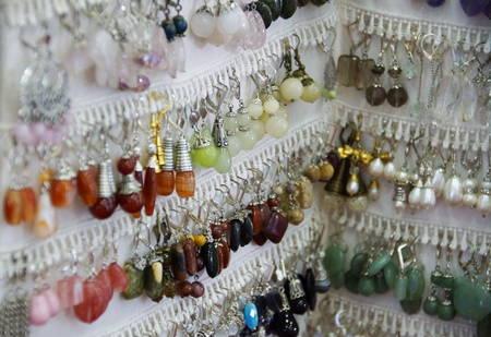 Photo of handmade earrings Stock Photo