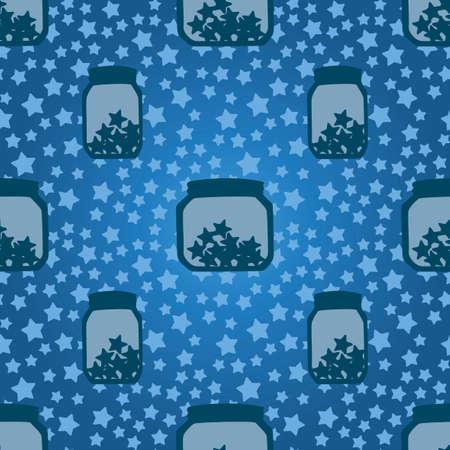 Simple children seamless pattern with banks and stars on a blue background