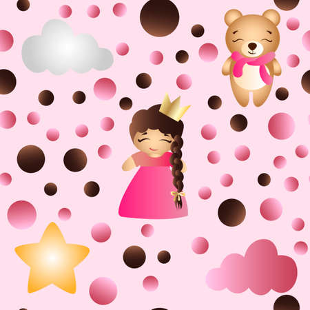 A seamless pattern with a cartoon cute toy baby girl, bear, stars and clouds on a pink background.