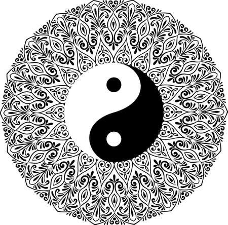 Dessin d'un mandala noir et blanc, rond ethnique ornement en forme de symbole yin yang Vecteurs