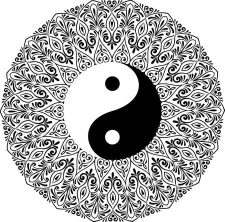 Drawing of a black and white mandala, round ethnic ornament in shape of symbol yin yang Vector Illustration