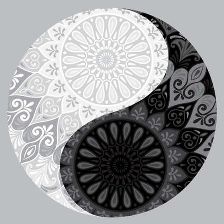 Drawing of a black and white mandala.