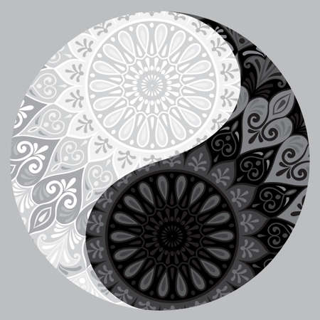 Drawing of a black and white mandala.