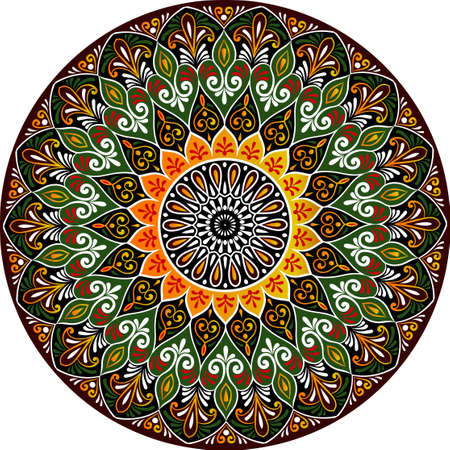 Drawing of a floral mandala. Illustration
