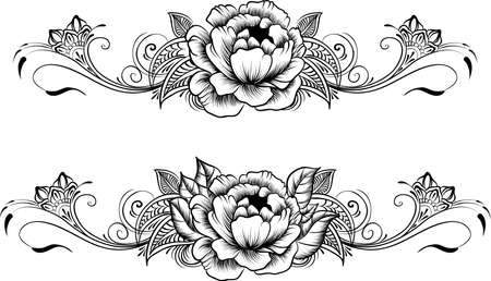 Ethnic indian line art border.