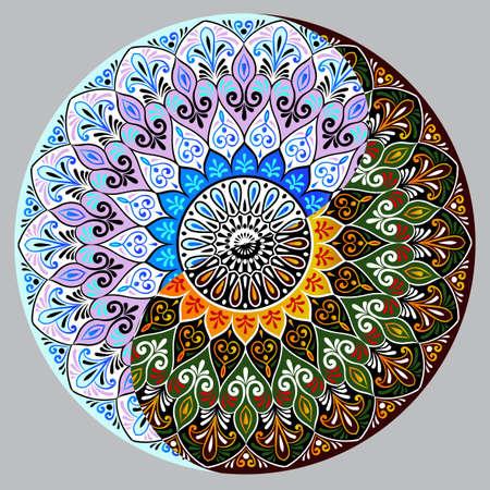 Tekening van een bloemenkantmandala, rond etnisch ornament in vorm van symbool yin yang Stock Illustratie