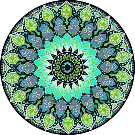 Disegno di un mandala floreale con colori turchesi, neri e verdi su sfondo bianco. Illustrazione di riserva tribale disegnata a mano di vettore Vettoriali