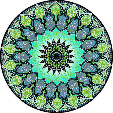 Drawing of a floral mandala with turquoise, black and green colors on a white background. Hand drawn tribal vector stock illustration Vector Illustration
