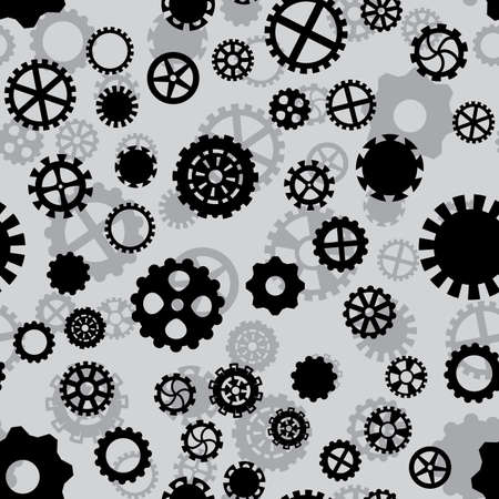 seamless pattern with black and gray gears Illustration