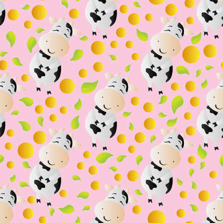 Seamless pattern with a cartoon cute toy cow, circles and leaves, on a dark pink background