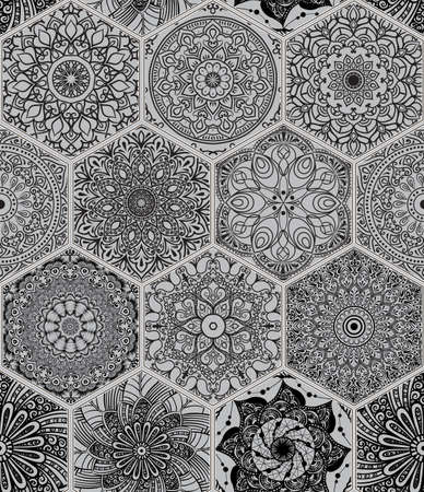 Oriental seamless pattern in style of colorful floral patchwork boho chic with mandala in hexagon elements Vectores