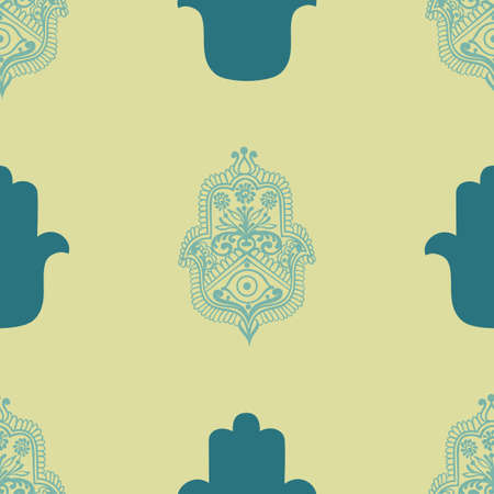 Vintage ethnic pattern with hamsa, hand drawn vector illustration
